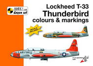 Mark 1 Guide  1/72 Lockheed T-33 Thunderbird colours and markings. With its roots in the successful Lockheed P-80 Shooting Star jet fighter, the Lockheed T-33, popularly known as the T-Bird, became the USAF's standard advanced trainer of the 1950s. Almost 5,700 T-33As were MKD72008