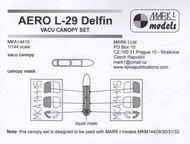 Mark 1 Models  1/144 Aero L-29 'Delfin' Vacu Canopy Set (vacu canopy + mask) MKA14415