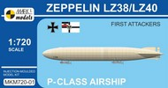 Mark 1 Models  1/720 Zeppelin LZ38/LZ40 First Attackers P-Class German Airship MKX72001