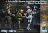 Masterbox Models  1/24 At the Edge of the Universe: Space Mercenary w/Heavy Gun, Robot & Android Waitress Holding tray/drinks MTB24031