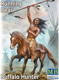 Masterbox Models  1/24 Running Bear Buffalo Hunter Indian Holding Spear Riding Horse MTB24048