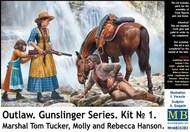 Outlaw Gunslinger: Marshall Tucker Wounded, Horse, Molly & Rebecca Hanson w/Rifle #MTB35203