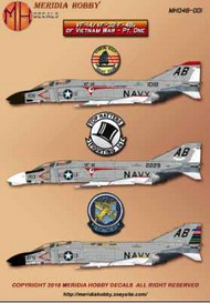 McDonnell F-4B PhantomVF-14 F-4B Phantom II Bu. No. 151018 / AB109VF-14 F-4B Phantom II Bu. No. 152229 / AB103VF-32 F-4B Phantom II Bu. No. 152314 / AB200 CAG birdSet with markings for three VF14 / VF-32 F-4Bs. This set includes never been offered marking #MH048001