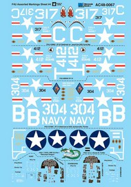 Vought F4U-4 Corsair Assorted Markings Sheet #4 with instrument panels (designed to be used with Academy and Revell kits) #AC480067