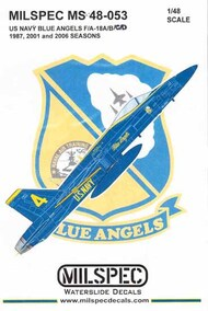 Milspec  1/48 US Navy Blue Angels F-18A F-18B F-18C F-18D Hornet 1987, 2001 & 2006 Seasons CAMMS48053