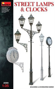 Assorted Street Lamps (3) & Clocks (2) #MNA35560