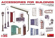 MiniArt Models  1/35 Accessories for Buildings: Gutter, Fence, Various Doors, Windows & Lamp Posts MNA35585