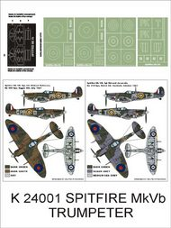 Montex Masks  1/24 Supermarine Spitfire Mk.VB 2 canopy masks (exterior and interior) + 4 insignia masks (designed to be used with Trumpeter kits) MXK24001