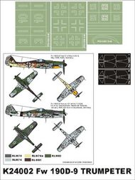 Montex Masks  1/24 Focke-Wulf Fw.190D-9 2 canopy masks (exterior and interior) + 3 insignia masks (designed to be used with Trumpeter kits) MXK24002