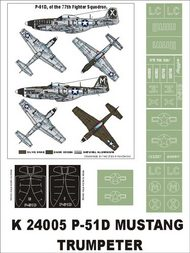 Montex Masks  1/24 North-American P-51D Mustang 2 canopy masks (exterior and interior) + 5 insignia masks (designed to be used with Trumpeter kits) MXK24005