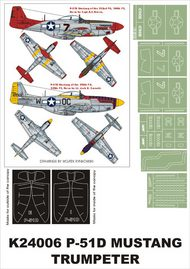 Montex Masks  1/24 North-American P-51D Mustang 2 canopy masks (exterior and interior) + 6 insignia masks (designed to be used with Trumpeter kits) MXK24006