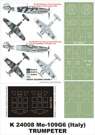Montex Masks  1/24 Messerschmitt Bf.109G-6 (Italy) 2 canopy masks (exterior and interior) + 3 insignia masks (designed to be used with Trumpeter kits) MXK24008