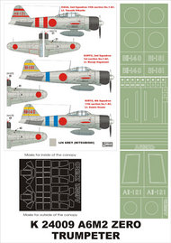 Montex Masks  1/24 Mitsubishi A6M2b Model 21 'Zero' 2 canopy masks (exterior and interior) + 3 insignia masks (designed to be used with Trumpeter kits) MXK24009