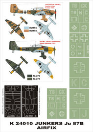 Montex Masks  1/24 Junkers Ju.87B 2 canopy masks (exterior and interior) + 5 insignia masks (designed to be used with AIrfix kits) MXK24010
