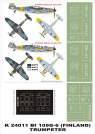 Montex Masks  1/24 Messerschmitt Bf.109G-6 (FINLAND) 2 canopy masks (exterior and interior) + 3 insignia masks (designed to be used with Trumpeter kits) MXK24011