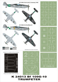 Montex Masks  1/24 Messerschmitt Bf.109G-10 2 canopy masks (exterior and interior) + 4 insignia masks MXK24013