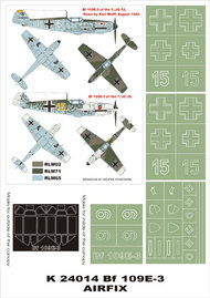 Montex Masks  1/24 Messerschmitt Bf.109E-3 2 canopy masks (exterior and interior) + 4 insignia masks MXK24014