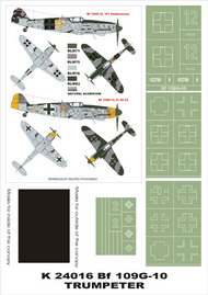 Montex Masks  1/24 Messerschmitt Bf.109G-10 2 canopy masks (exterior and interior) + 4 insignia masks MXK24016