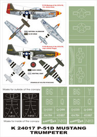 Montex Masks  1/24 North-American P-51D Mustang 2 canopy masks (exterior and interior) + 4 insignia masks MXK24017