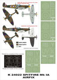 Montex Masks  1/24 Supermarine Spitfire Mk.I 2 canopy masks (exterior and interior) + 4 insignia masks MXK24022