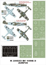 Montex Masks  1/24 Messerschmitt Bf.109E-3 2 canopy masks (exterior and interior) + 4 insignia masks (designed to be used with AIrfix kits) MXK24023