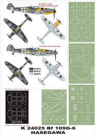 Montex Masks  1/24 Messerschmitt Bf.109G-6 2 canopy masks (exterior and interior) + 4 insignia masks (designed to be used with Trumpeter kits) MXK24025