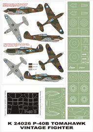 Montex Masks  1/24 Curtiss P-40B Tomahawk 2 canopy masks (exterior and interior) + 5 insignia masks (designed to be used with Vintage kits) MXK24026