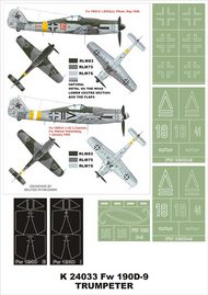 Montex Masks  1/24 Focke-Wulf Fw.190D-9 2 canopy masks (exterior and interior) + 4 insignia masks MXK24033