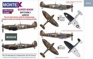 Montex Masks  1/24 Supermarine Spitfire Mk.I 2 canopy mask (inside and outside canopy frame mask) + 4 insignia masks + decals MXK24089
