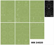 Montex Masks  1/24 Grumman F6F-5 Hellcat 2 canopy masks (outside & inside) + 6 insignia masks MXMM24020
