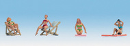 NOCH  HO Female Sunbathers (4) w/Chairs & Mats NOC15851