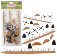 Playsets  54mm 54mm WWII Battlefield Access: Fence, Hedgehogs, Sandbags, etc. Total 21pcs) (Bagged) (BMC Toys) PYS99999
