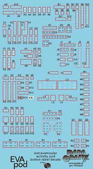 Paragrafix Modeling Systems  1/8 2001 Space Odyssey: EVA Pod Button Label Decal Set for MOE PGX224