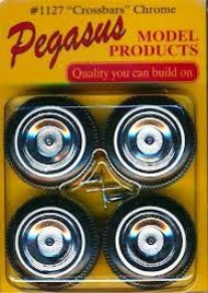Pegasus Hobbies  1/24-1/25 Crossbars Chrome Rims w/Tires (4) PGH1127