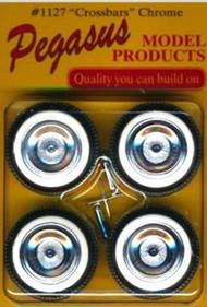 Pegasus Hobbies  1/24-1/25 Crossbars Chrome Rims w/Fat Whitewall Tires (4) PGH1127W