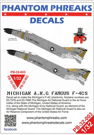 Phantom Phreaks Decals  1/32 F-4C Phantom II Michigan ANG (Grey Scheme) PPD32003