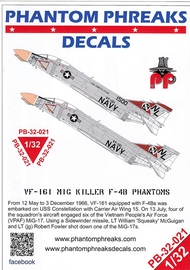 Phantom Phreaks Decals  1/32 F-4B Phantom II VF-161 MiG Killers PPD32021