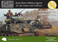 Plastic Soldier  15mm 15mm WWII Allied M4A3 (Late) Sherman Tank (5) PSO1516