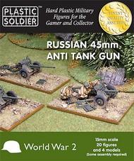 Plastic Soldier  15mm 15mm WWII Russian 45mm Anti-Tank Gun (4) & Crew (20) PSO1518