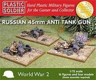 Plastic Soldier  1/72 WWII Russian 45mm Anti-Tank Gun (4) & Crew (16) PSO7207