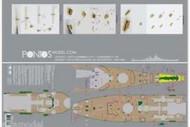 Pontos Model Wood Deck  1/200 USS Missouri BB63 1945 Wood Deck for TSM PON20002