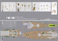 Pontos Model Wood Deck  1/200 USS Iowa BB61 1944 Wood Deck for TSM PON20004
