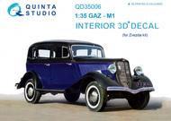 Quinta Studio  1/35 GAZ M1 Soviet Car 3D-Printed & coloured Interior on decal paper QTSQD35006