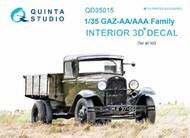 Quinta Studio  1/35 GAZ-AA/AAA family 3D-Printed & coloured Interior on decal paper QTSQD35015