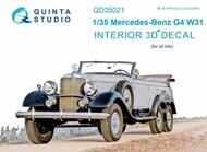 Quinta Studio  1/35 Mercedes-Benz Typ G4 (W31) 3D-Printed & coloured Interior on decal paper QTSQD35021