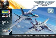 Top Gun Maverick's Set: F/A-18W Super Hornet & F-14D Super Tomcat Aircraft w/paint & glue RVL5677