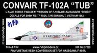 Convair TF-102A Delta Dagger Early (USAF Vietnam 1962), conversion #RVHC7239