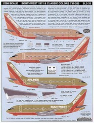 Scaleliners  1/200 Boeing 737-200 SOUTHWEST 1971 Delivery and Classic Desert Gold scheme FPSL233