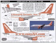 Scaleliners  1/200 Boeing 737-300 easyJet HB-III Web site and 'Monopole Swissair, Non!' combo FPSL235