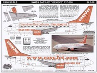 Scaleliners  1/200 Boeing 737-300 EasyJet HB-ILJ Web site and 'Geneve-Barcelone, tourjours!' combo FPSL236
